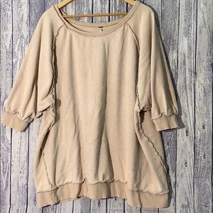 Free People Blush Inside Out 3/4 Sleeve Pullover